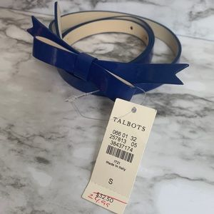 Talbots shiny blue bow belt NWT size small